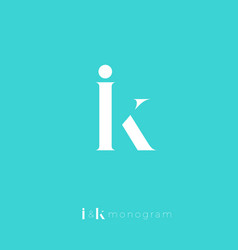 i k monogram crossed letters combined initial vector image