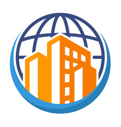 Icon logo for global business vector
