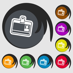 Id card icon sign Symbol on eight colored buttons vector image