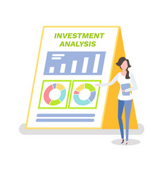 investment analysis woman with clipboard info vector image