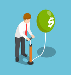 Isometric businessman blowing a dollar balloon by vector