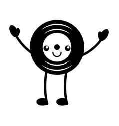 Kawaii music vinyl disk vintage cartoon vector