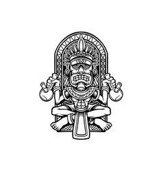 king bong weed hawaiian tiki sclupture vector image