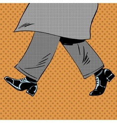 Male feet are shoes wind coat pop art comics retro vector