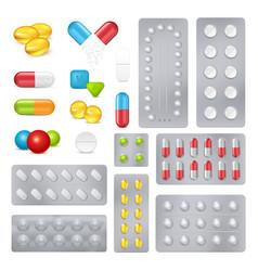 Medicine pills capsules realistic images set vector