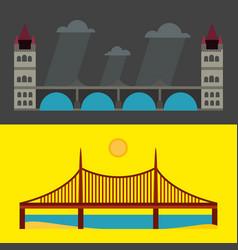 modern bridge flat pictograph business architectur vector image