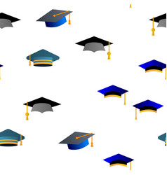 mortarboard academic cap seamless pattern vector image