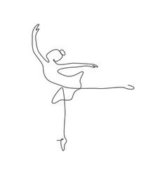 one continuous line drawing woman beauty ballet vector image