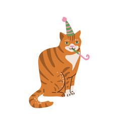 outbred red and white cat celebrate happy birthday vector image