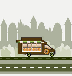 Pizza truck rides highway on a city background vector