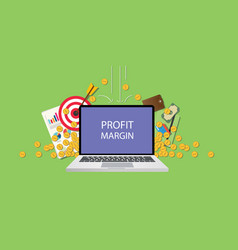 Profit margin concept with laptop text on screen vector