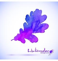 Purple watercolor painted oak leaf vector