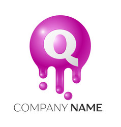 q letter splash logo purple dots and bubbles vector image