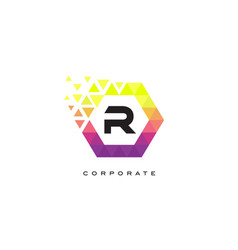 r colorful hexagon shaped letter logo design vector image