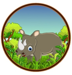 rhino with forest background vector image