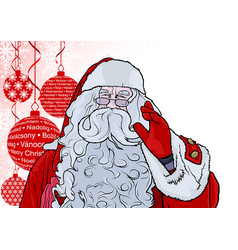santa claus and background with baubles vector image vector image