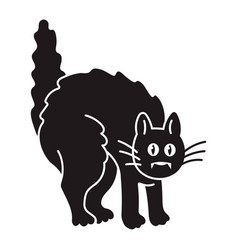 scary black cat icon simple style vector image