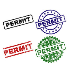 Scratched textured permit seal stamps vector