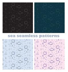 Sea world seamless patterns vector