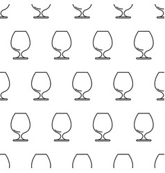 seamless pattern from cognac glass black contour vector image