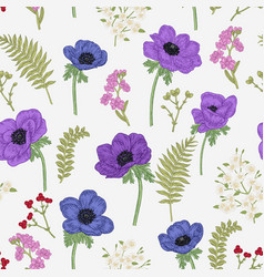 Seamless pattern with anemones spring flowers vector