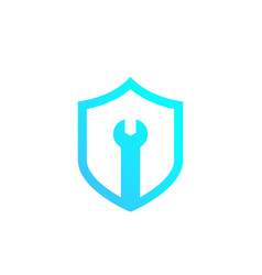 Security service shield with wrench logo vector