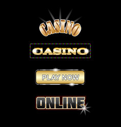 set for casino signboards and buttons vector image
