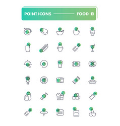 set of 30 line icons food and drink vector image