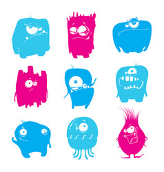 Set of cartoon funny monsters vector