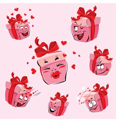 Set of pretty pink gift boxes cartoons vector image