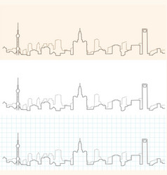 Shanghai hand drawn skyline vector