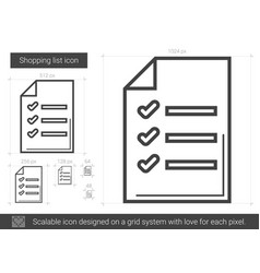 Shopping list line icon vector