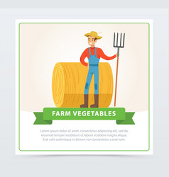 Smiling farmer stands with a pitchfork in front of vector