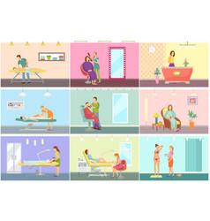 Spa center and beauty salon interior cartoon set vector