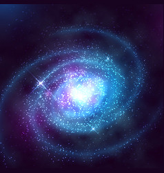 Spiral galaxy in outer space with starry blue sky vector