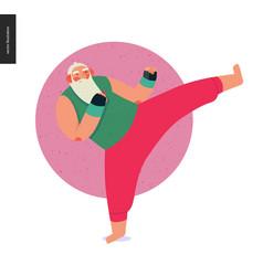 Sporting santa - kickboxing aerobic vector
