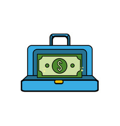 Suitcase with green bill money inside vector