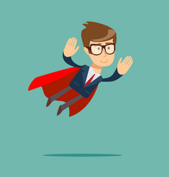 Super businessman in a cloak of superman vector