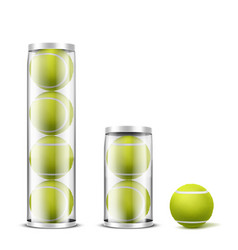 tennis balls in plastic cans realistic vector image