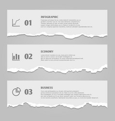 Torn paper sheets with numbers infographic icons vector