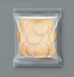 transparent plastic snack cookie pack vector image