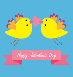 two flying yellow bird family couple holding heart vector image