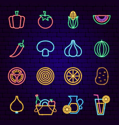 vegetables neon icons vector image