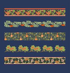 Vintage borders with lotus iris and poppy vector