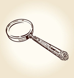 Vintage magnifier vector