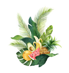 Watercolor composition green tropical vector