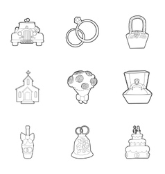 Wedding celebration icons set outline style vector