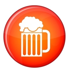 Beer mug icon flat style vector image vector image