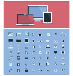 Computer hardware icon set vector