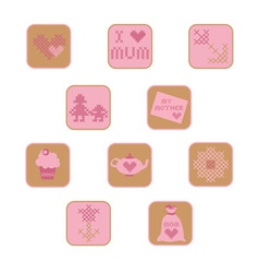 cross stitch mothers day icons set vector image